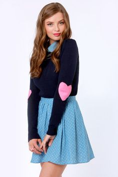 No matter where you usually wear it, the Heart On Your Sleeves Navy Blue Sweater lets you show off your sweetness! Navy Blue sweater with pink heart-shaped elbow patches. Navy Blue Sweater, Blue Sweaters, Pullover Sweaters, Sweaters For Women, Sassy, Kawaii, Kinds Of Clothes, Sweet Dress, Vintage Style Outfits