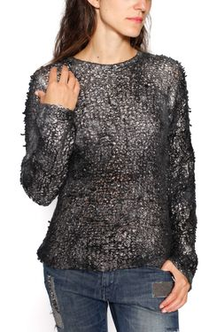 Silver Rolled Cashmere & Silk Pullover designed by Avant Toi