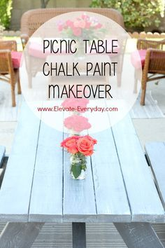 Picnic Table Makeover with DecoArt #chalkyfinish #decoartprojects