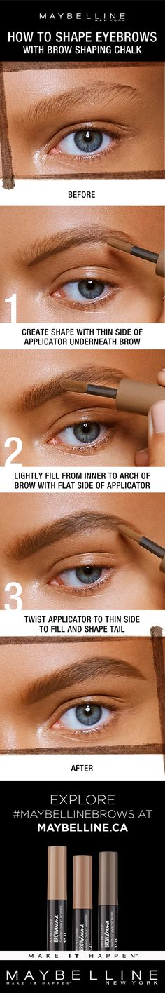 Want boldly filled brows? Introducing Maybelline New York Brow Drama Shaping Chalk Powder that makes it easy for your best brows. The soft powder texture and thick-to-thin applicator helps glide on bold yet softly shaped brows with instant definiton. Flawless brows are now simple to create and lasts all day!