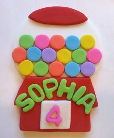 Fondant cake topper, would be cute for a candy themed birthday party.
