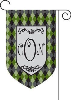 Argyle monogrammed garden flag