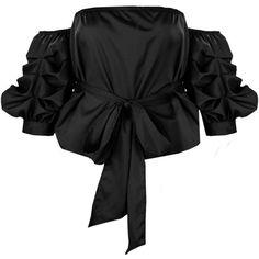 6879e8006422c Boohoo Samantha Tie Waist Ruched Sleeve Bardot Top (1