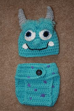 Sully inspired 2piece Hat and Diaper cover by TracyplusCrochet, $28.00