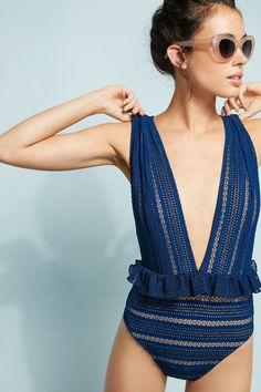 Slide View: 1: Nightcap Bardot Ruffled Lace One-Piece Swimsuit