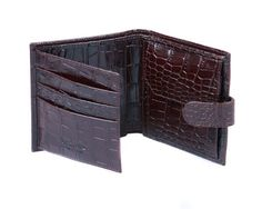 Handmade from fine calf leather with a crocodile skin effectLuxurious cream suede credit card slots with beautifully turned edgesExpandable coin purseSecure tab and stud fasteningSingle note section large enou Man Purse, Crocodile Skin, Coin Wallet, Men's Collection, Calf Leather, Crocs, Calves, Divider, Window