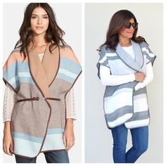 Coming Soon Hinge Stripe Cape •Coming soon in size S/M are these stunning stripe capes by Hinge• Perfect staple piece for layering while still looking on trend. Tonal piping accents the two-tone stripe design of an offbeat, wrap-front outerwear style feminized with shawl lapels and kimono sleeves. A sleek faux-leather belt cinches the midsection for a flattering, figure. 100% cotton.Limited stock available. Like & comment below to be notified when available (within the next few days) Hinge…