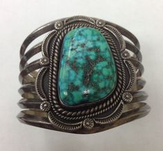 Vintage Redwater (Navajo) coin silver and turquoise cuff