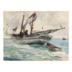 """""""Schooner - Nassau,"""" Winslow Homer, transparent watercolor, with traces of opaque watercolor, The Art Institute of Chicago. Winslow Homer Paintings, Boat Art, Famous Art, Art Institute Of Chicago, Vintage Artwork, Free Illustrations, American Art, Watercolor Paintings, Watercolors"""