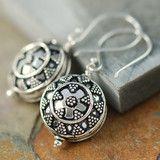 Bali Shield design sterling silver earrings