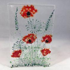 Fused Glass Mini Curve With Rainbow Coloured Flowers Handmade Glass Art Birthday Anniversary Gift Present Mum Nana
