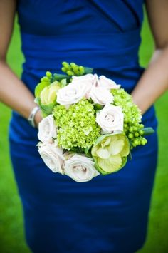 Wedding Theme: Royal Blue, White and Light Green.  Love the dress in this highlighted wedding