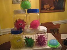 Germs for my Preschool VBS Science Lab....Dollar Tree and Dollar Deals!! oh, and a brain too!