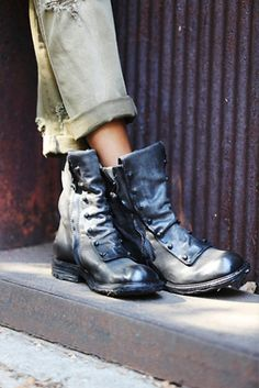 Free People boots are designed to look good with any outfit. Shop our collection of leather boots, knee high boots, and ankle boots for women. Leather Ankle Boots, Combat Boots, Ropa Shabby Chic, Fashion Shoes, Fashion Accessories, Color Fashion, Over Boots, Mode Inspiration, Mode Style