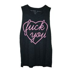 FU Heart Tank ❤ liked on Polyvore featuring tops, shirts, tank tops, tanks, cotton shirts, shirts & tops, fluorescent shirts, neon tank top and cotton tank