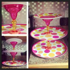 "Gbugs homemade cupcake stand for her ""Pretty in Pink"" flamingo roller skating party! :)"