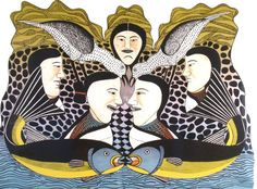 Women Speak of Spring by Kenojuak Ashevak | Look North | Inuit Art Gallery, from the Arctic to New York City
