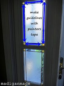 Make your own faux stained glass foyer window for privacy & it's not permanent!