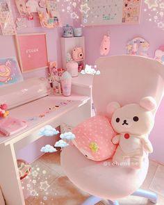 Study Room Decor, Room Setup, Pc Setup, Gaming Setup, Cute Room Ideas, Cute Room Decor, Pastel Room, Pink Room, Room Design Bedroom
