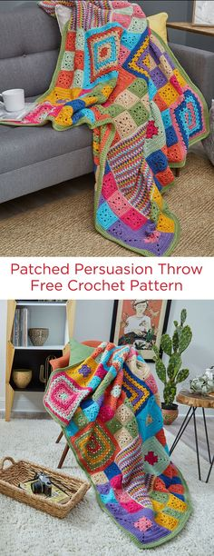 Patched Persuasion Throw Free Crochet Pattern in Red Heart Super Saver yarn