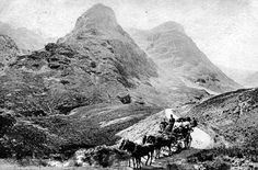 Old photograph of coach and horses in Glencoe in the Highlands of Scotland