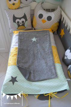d coration chambre enfant b b hibou toiles turquoise cara be jaune moutarde gris argent. Black Bedroom Furniture Sets. Home Design Ideas
