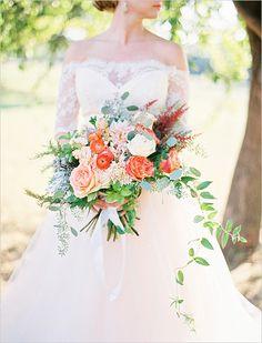 massive orange and pink wedding bouquet