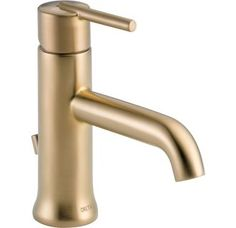 Delta 559LF-MPU Chrome Trinsic Single Hole Bathroom Faucet with Pop-Up Drain Assembly and Optional Base Plate - Includes Lifetime Warranty - FaucetDirect.com