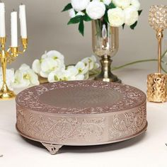 Wedding Cake Stands, Wedding Cake Toppers, Wedding Cakes, Metal Cake Stand, Elegant Centerpieces, Caking It Up, Plate Stands, Elegant Cakes, Round Cakes