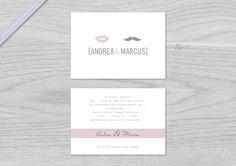 Hochzeitseinladung ♥ Lippen & Moustache ♥ von lilalaunedesign auf ...