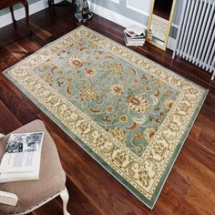 Zeppelin Green Rug World Menagerie Rug Size: Rectangle 240 x Persian Pattern, Oriental Pattern, Oriental Design, Duck Egg Blue Rugs, High Pile Rug, Rug World, Polypropylene Rugs, Machine Made Rugs, Traditional Rugs