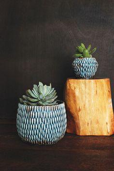 Blue Ceramic Tabletop Planter   Bohemian Home Decor: Bomisch