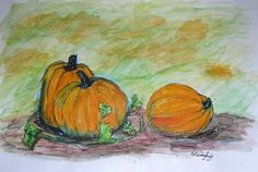 Pumpkins fall autumn watercolor painting by TwinSisCreations