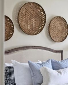 These round woven bamboo baskets add the perfect warmth, texture and dimension to any space. Hang them as a grouping on a wall or even use them on a table as a base for a centerpiece. Baskets On Wall, Hanging Baskets, Decorative Wall Baskets, Wicker Baskets, Bedroom Wall, Bedroom Decor, Bedroom Wardrobe, Bed Wall, Master Bedroom