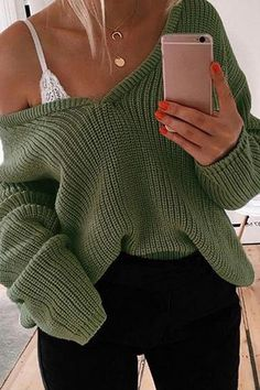 Shop for Green V-neck Long Sleeve Women Knit Sweater online at $23.99 and discover more Sweaters & Cardigans at mynystyle.com
