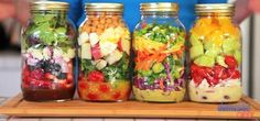 """Take the stress out of healthy lunches with these easy-to-make and easy-to-take salad-in-a-jar recipes from The Domestic Geek. The tasty """"Fresh and Fruity,"""" """"Protein-Packed,"""" """"Asian-Inspired"""" and """"Greek"""" combos can last in you fridge for..."""