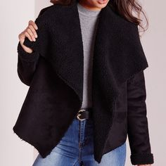 Missguided Suede Coat Faux suede waterfall shearling coat in black, brand new with tags in perfect condition! I ordered a wrong size and is a hassle to return so my lost is your gain! US size 10, I believe it can fit from L or an oversized M, if you have more questions please let me know! Missguided Jackets & Coats Blazers