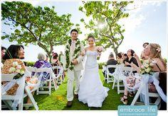 Beautiful and Bright Ceremony Recessional - JW Marriott Ihilani Wedding Photographer, Hawaiian Wedding Photos, Bubble Recessional Idea