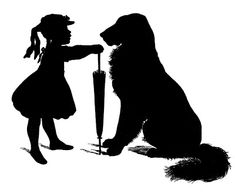 Free Vector Download - Silhouette - Girl with Dog - The Graphics Fairy