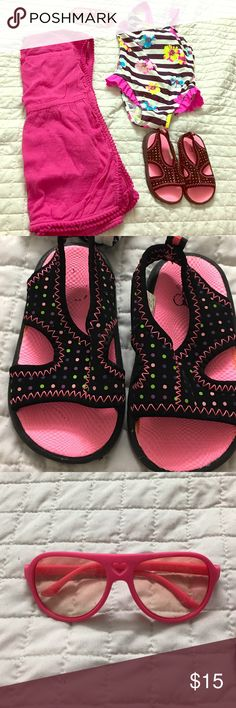 Bundle.. Toddler Girl Bundle. Sun Glasses Water shoes Swing/cover Other
