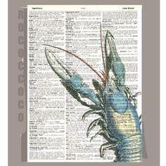 Blue Lobster on Repurposed Dictionary Page from RococcoCo at Etsy