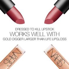 Looking for a counterpart to new Dressed to Kill Lipstick? Add a swipe of Gold Digger Larger Than Life Lip Gloss for multi-faceted shimmer. Love Makeup, Beauty Makeup, Satin Lipstick, Make Up Collection, Makeup Obsession, Makeup Application, Dressed To Kill, Lip Colors, Nars Cosmetics