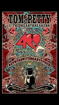 Original concert poster for Tom Petty and the Heartbreakers at The Hollywood Bowl in Los Angeles, California in 18 x 24 inches on card stock. Signed limited edition as an AP by the artist Mike DuBois. Tour Posters, Band Posters, Tom Petty 2017, Petty Lyrics, Song Lyrics, King Bee, Vintage Music Posters, Lyric Tattoos, Rockn Roll