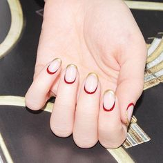 Trendy Winter Nail Designs To Try red and golden french