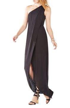 BCBGMAXAZRIA 'Dries' One Shoulder Crêpe de Chine Gown available at #Nordstrom