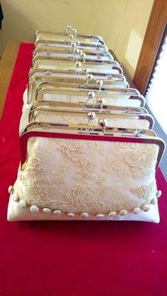 Repurposed vintage wedding dress/Heirloom bridal clutch/Wedding gift for her/Bridal Shower gift/Custom made/ wedding clutch purse Old Wedding Dresses, Old Dresses, Wedding Gowns, Custom Clutches, Wedding Clutch, Bridal Clutch Bag, Purse Handles, Beaded Purses, Beaded Clutch