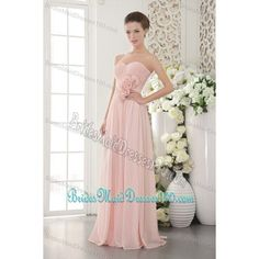 Pink Sweetheart Hand Made Flower Ruched Bridesmaid Dresses via Polyvore featuring dresses, formal dresses, white prom dresses, party dresses, evening dresses and white bridesmaid dresses
