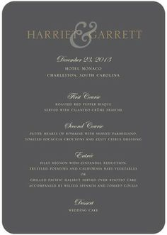 Monogram Elegance - Signature White Menu Cards - simplyput by Ashley Woodman - Charcoal - Gray : Front