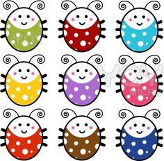 Royalty free vector of cute cartoon ladybug set