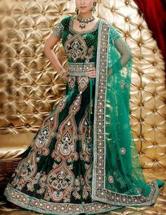 Gorgeous green lehenga with rich golden embroideries